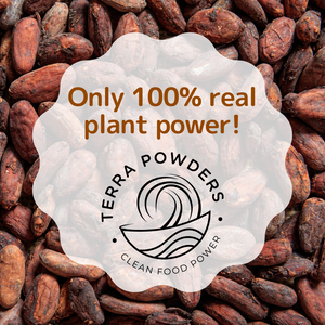 Only 100% Real Plant Power In Terra Powders Golden Cocoa Chocolate Drink Mix Powder
