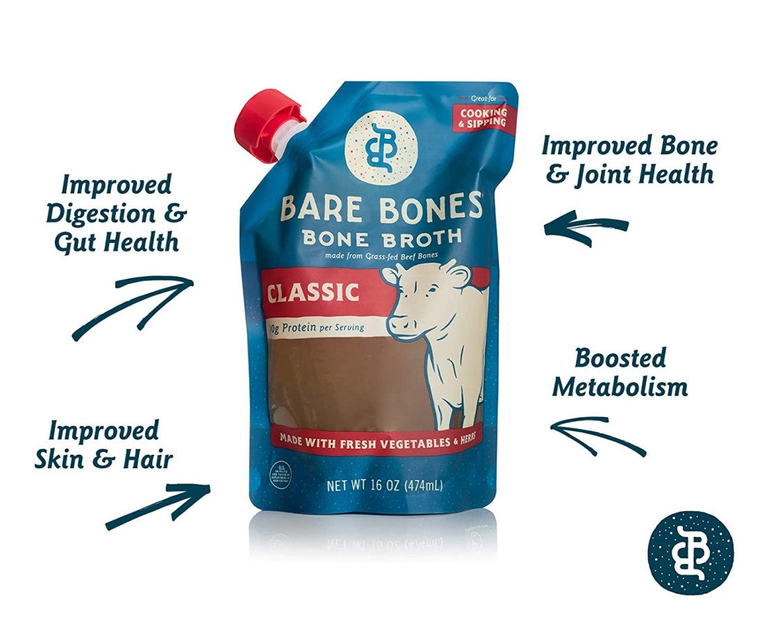 Grass Fed Beef Bones Classic Bone Broth From Bare Bones Healthy Benefits Infographic