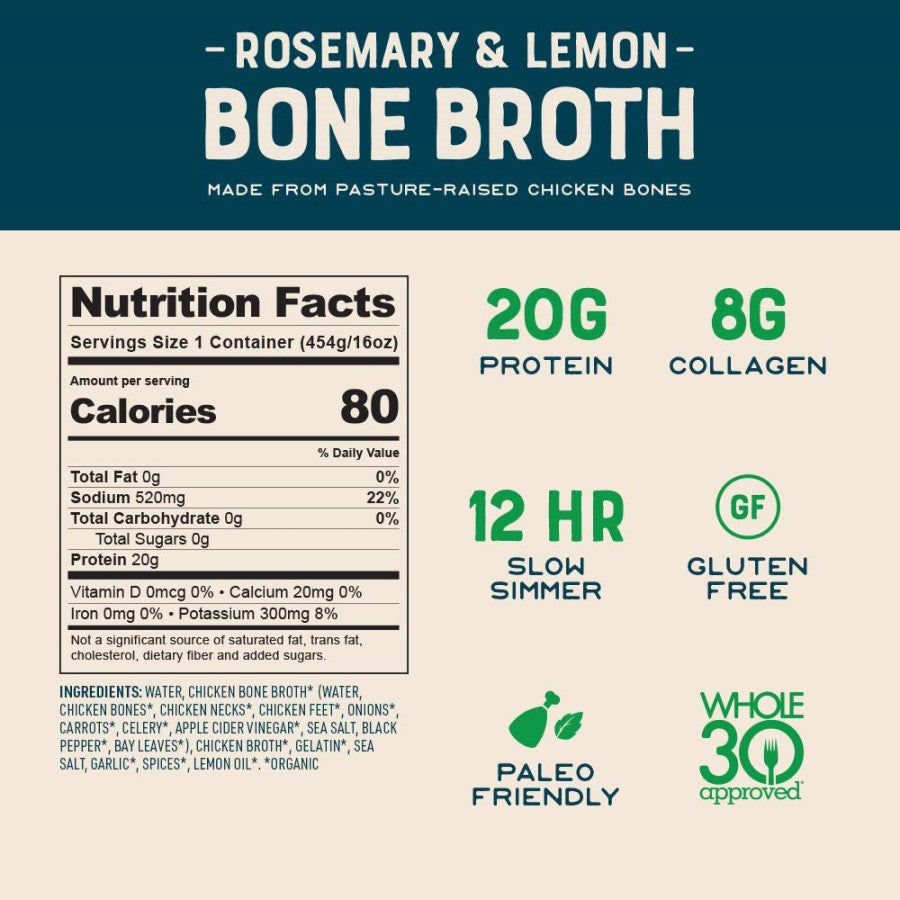 Bare Bones Organic Rosemary & Lemon Bone Broth From Pasture Raised Chicken Bones Nutrition Facts Ingredients 20 Grams Protein 8 Grams Collagen Slow Simmer Gluten Free Paleo Whole30 Approved
