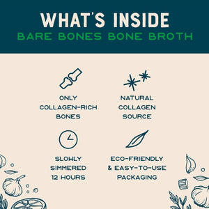 What's Inside Chicken Rosemary Lemon Bare Bones Bone Broth Collagen Rich Bones Eco Friendly Packaging