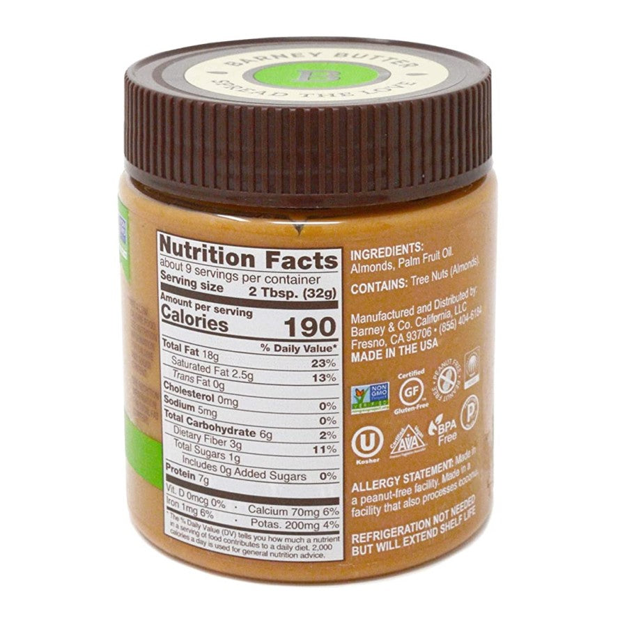 Barney's 10 Ounce Bare Crunchy Almond Butter Nutrition Facts And Ingredients