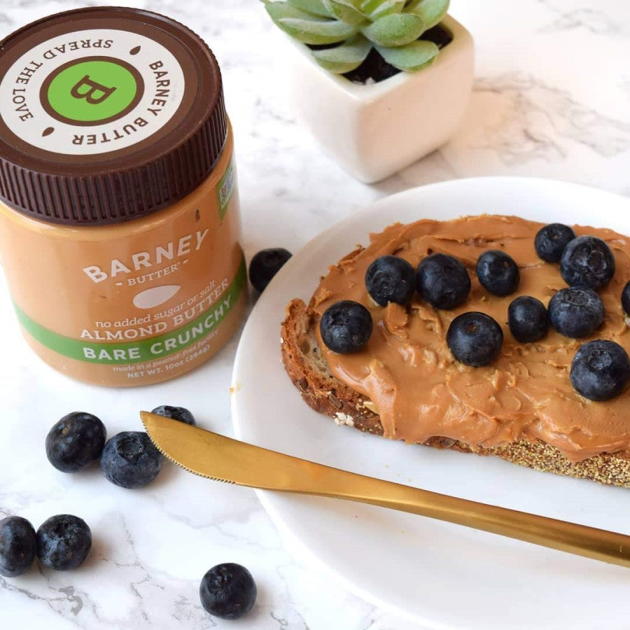 Bare Crunchy Barney Almond Butter On Gluten Free Toast With Fresh Organic Blueberries