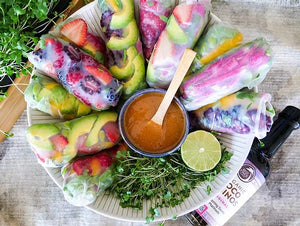 Fresh Rice Paper Rolls Filled With Fruit Berries And Vegetables And Dipping Sauce Made With Non-GMO Coconut Amino Sauce From Big Tree Farms