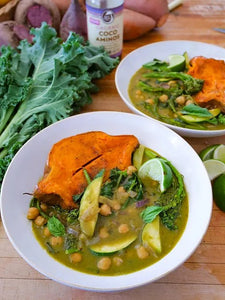 Wholesome Organic Food Bowls Of Sweet Potato And Green Basil Curry Made With Big Tree Farms Coco Aminos Cooking Sauce