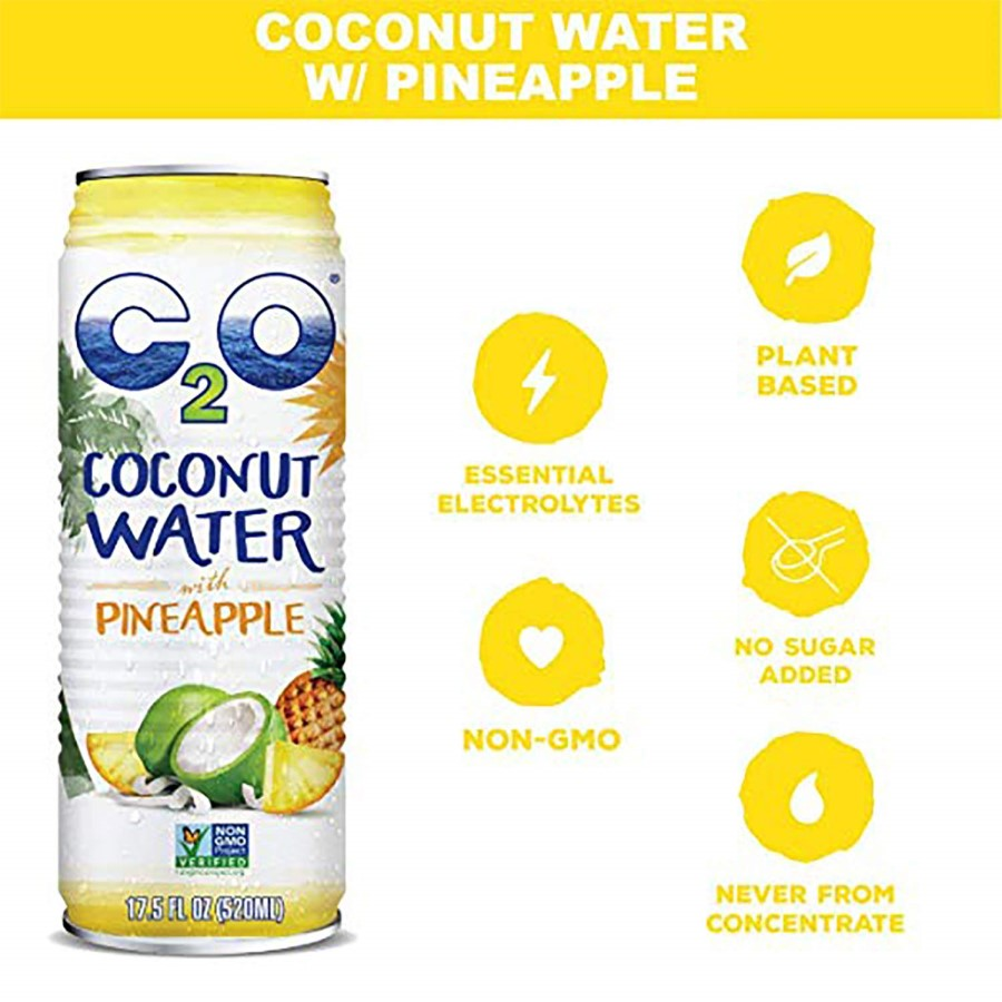 C2O Coconut Water With Pineapple Infographic Essential Electrolytes Non-GMO Plant Based No Sugar Added Never From Concentrate 17.5oz