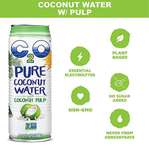 C2O Coconut Water With Coconut Pulp Infographic Essential Electrolytes Non-GMO Plant Based No Sugar Added Never From Concentrate 17.5oz