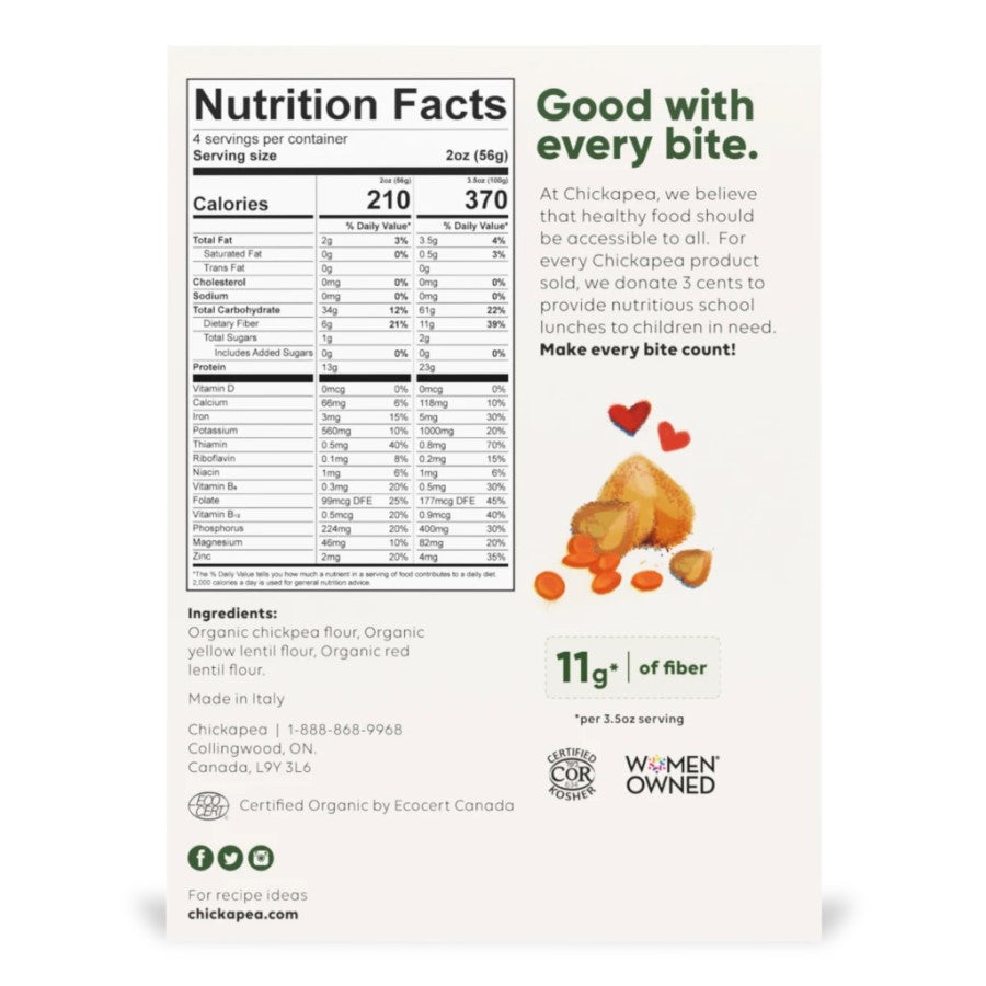 Chickapea Shells Organic Ingredients And Nutrition Facts
