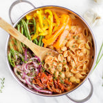 Load image into Gallery viewer, Chickapea Gluten Free Pasta Shells In Colorful Recipe Using Fresh Bell Pepper Green Beans And Onions