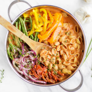 Chickapea Gluten Free Pasta Shells In Colorful Recipe Using Fresh Bell Pepper Green Beans And Onions
