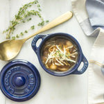 Load image into Gallery viewer, Blue Staube La Cocotte With Homemade Gluten Free Pasta Shell Soup Using Chickpea And Lentil Pasta From Chickapea