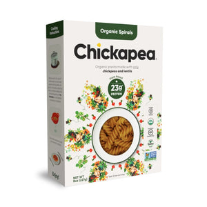 Box Of Organic Spirals Plant Based Lentil And Chickpea Pasta From Chickapea
