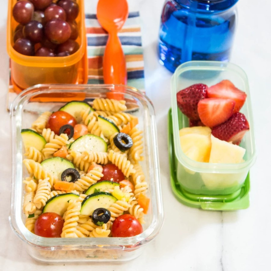 Pasta Salad Chickapea Gluten Free Spiral Noodles With Fresh Vegetables And Fruit Healthy Vegan Packed Lunch