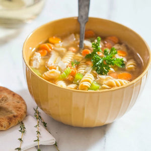 Bowl Of Delicious Homemade Soup With Gluten Free Chickpea Spiral Noodles From Chickapea Pasta