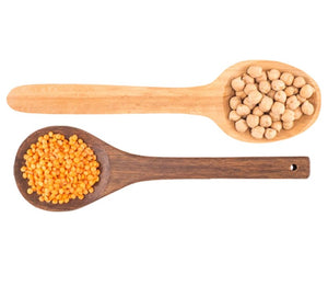 Chickpeas And Lentils On Wooden Spoons Simple Clean Ingredients In Chickapea Gluten Free Pasta