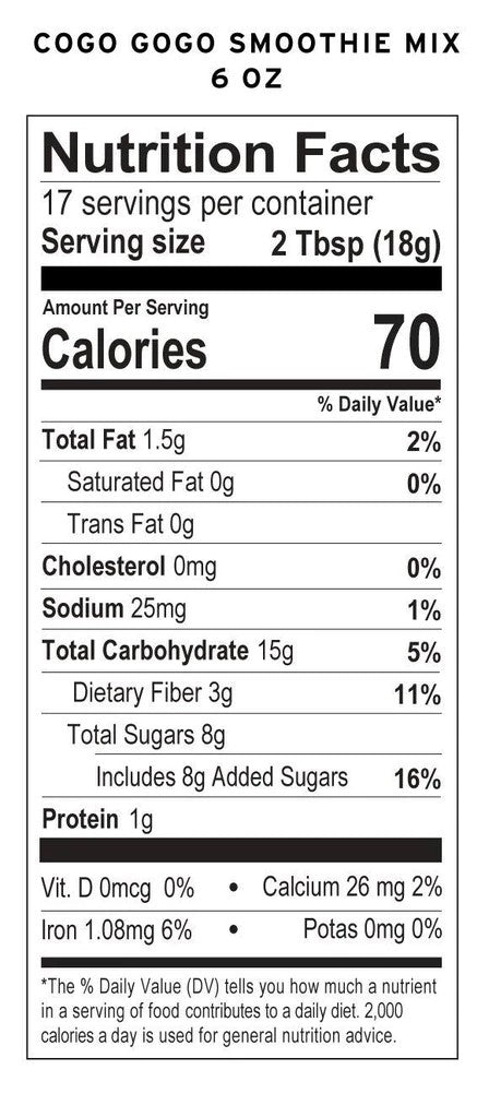 Coco Gogo Healthy Chocolate Smoothie Mix 6 Ounce Nutrition Facts