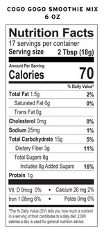 Load image into Gallery viewer, Coco Gogo Healthy Chocolate Smoothie Mix 6 Ounce Nutrition Facts