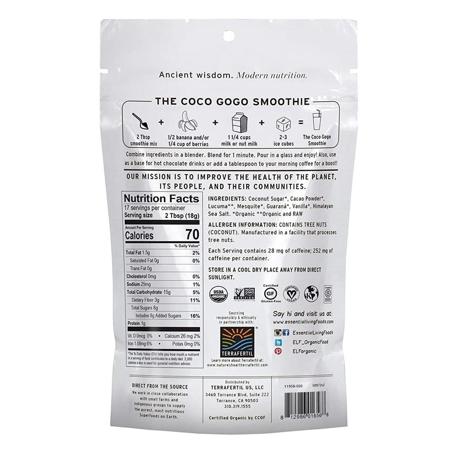 Coco Gogo Smoothie Ingredients Recipe Nutrition Facts Back Of Bag