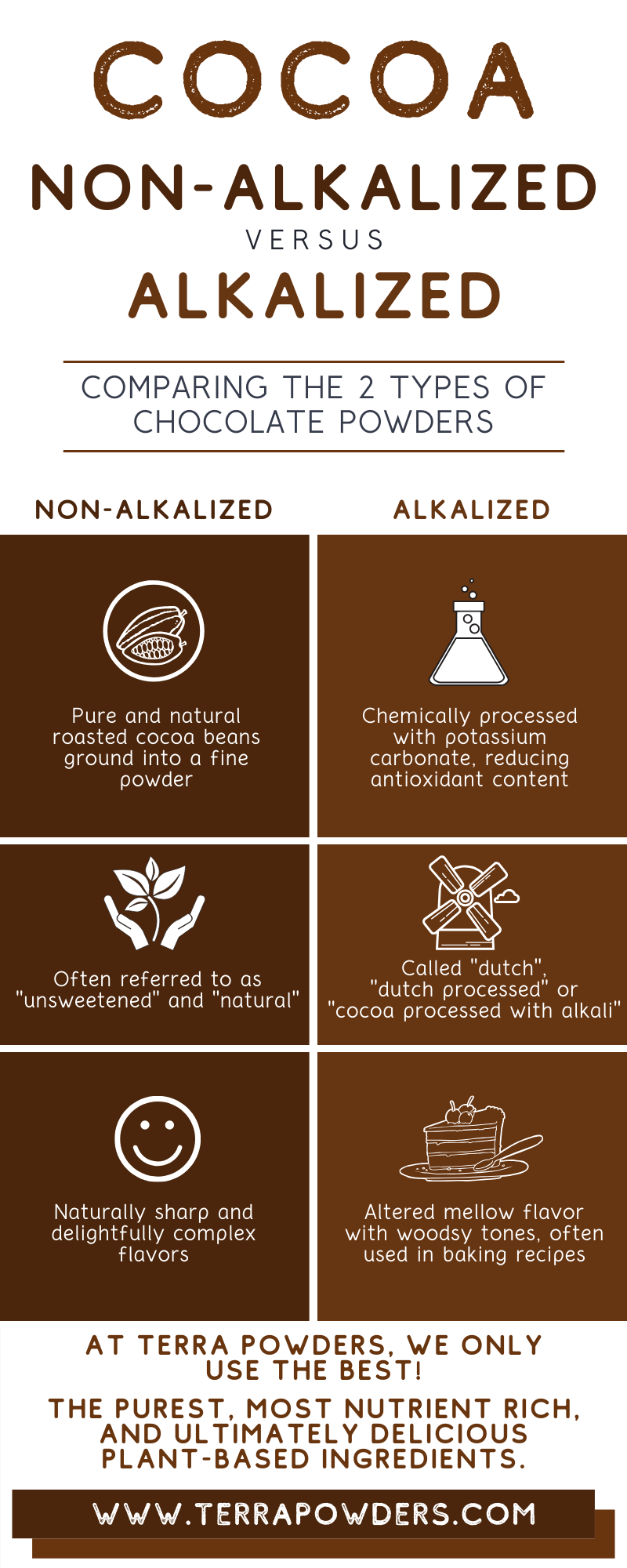 Cocoa Powder Comparison Infographic By Terra Powders Nutrient Rich Clean Food Power