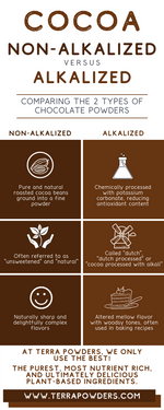 Load image into Gallery viewer, Cocoa Powder Comparison Infographic By Terra Powders Nutrient Rich Clean Food Power