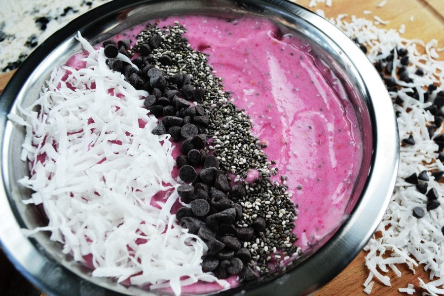 Coconut Raspberry Dream Smoothie Bowl Made With NUCO Premium Coconut Oil Non-GMO