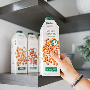 Reaching For Shelf Stable Non-GMO Almond Milk From Pantry Shelf Gluten Free Unsweetened Milked Almonds Elmhurst