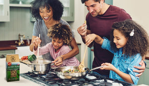 Happy Family Cooking At Home Together Making Ralston Rice Nature's Blend Of Brown Red And Purple Whole Grains
