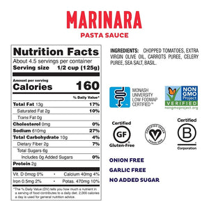 Ingredients Of Low FODMAP Certified Marinara Pasta Sauce From Fody Nutrition Facts