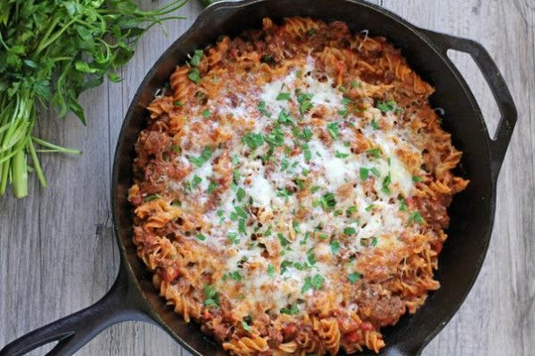 Fody Gut Friendly Recipe One Pan Style Cheesy Beef And Pasta Using Marinara Sauce