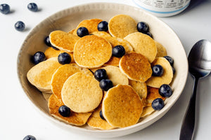 Gluten Free Mini Pancake Cereal With Blueberries Recipe Primal Kitchen