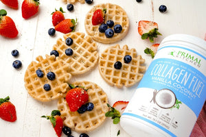 Gluten Free Vanilla Coconut Waffles Topped With Fresh Strawberries And Blueberries Made With Collagen Peptide Fuel Recipe Primal Kitchen