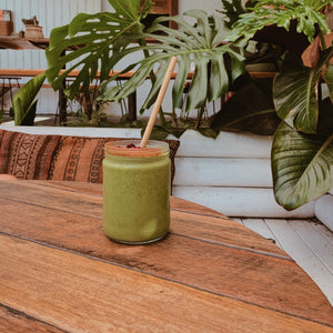 Delicious Organic Green Protein Smoothie On Wooden Table
