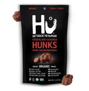 Hu Chocolate Covered Sour Golden Berry Hunks Four Ounce Bag