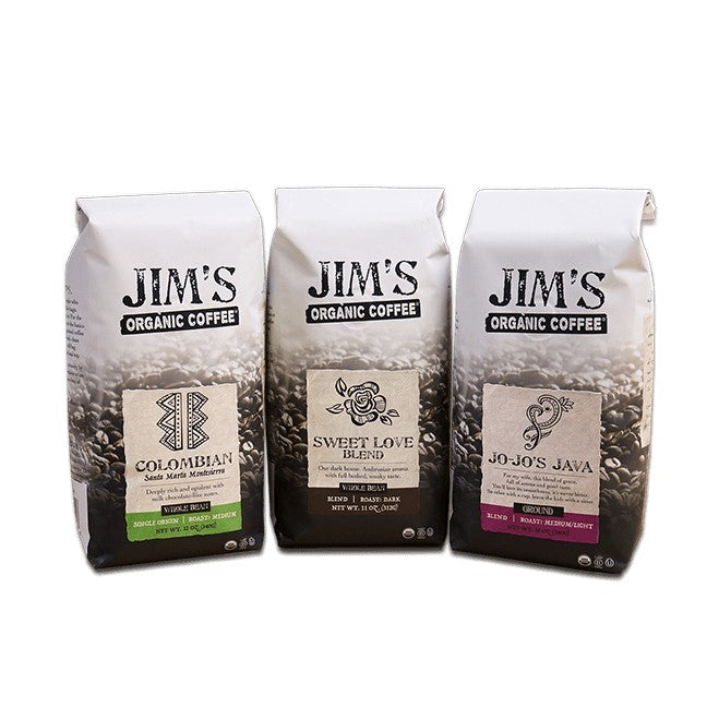 Bags Of Jim's Organic Coffee Colombian Sweet Love Blend Jo-Jo's Java
