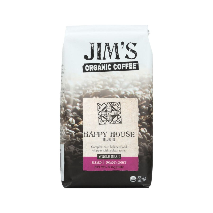 Jim's Organic Coffee Happy House Blend Whole Bean 12oz