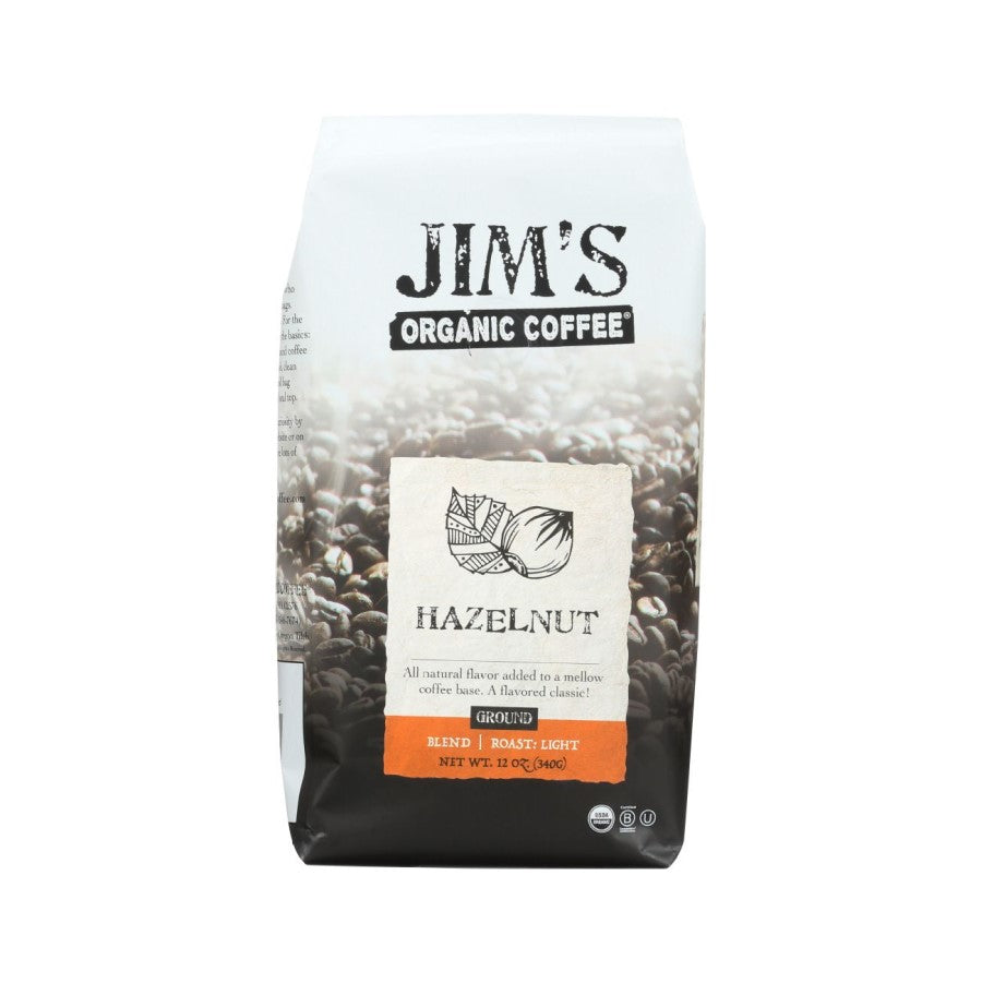 Jim's Organic Coffee Hazelnut Ground 12oz
