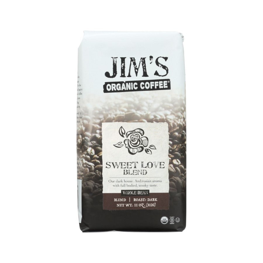 Jim's Organic Coffee Sweet Love Blend Whole Bean 11oz