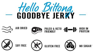 Hello Biltong Goodbye Jerky Air Dried Keto Friendly Kalahari Garlic Snack Food