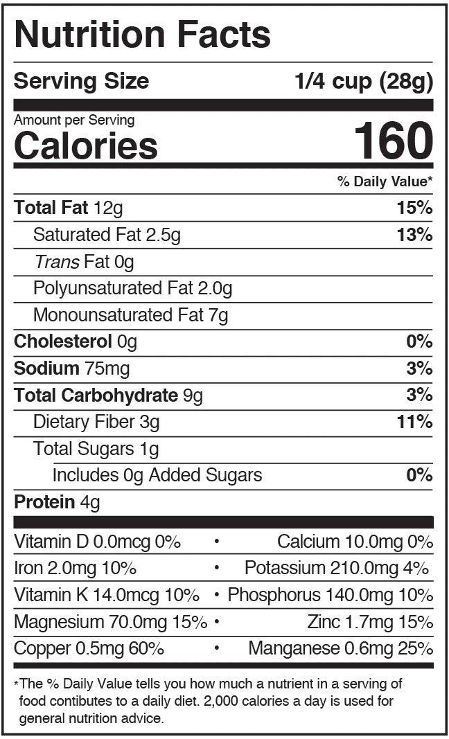 Karma Lightly Salted Wrapped Cashews Nutrition Facts Label