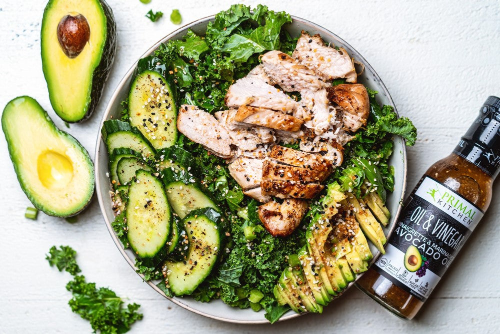 Fresh Avocados And Chicken With Keto Kale Salad With Avocado Oil & Vinegar Primal Kitchen Vinaigrette Dressing