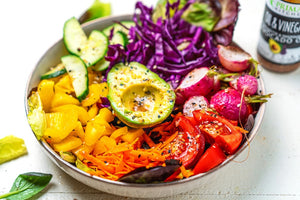Colorful Keto Vegan Rainbow Salad Topped With Avocado Oil And Red Wine Vinegar Salad Dressing Vinaigrette Marinade From Primal Kitchen