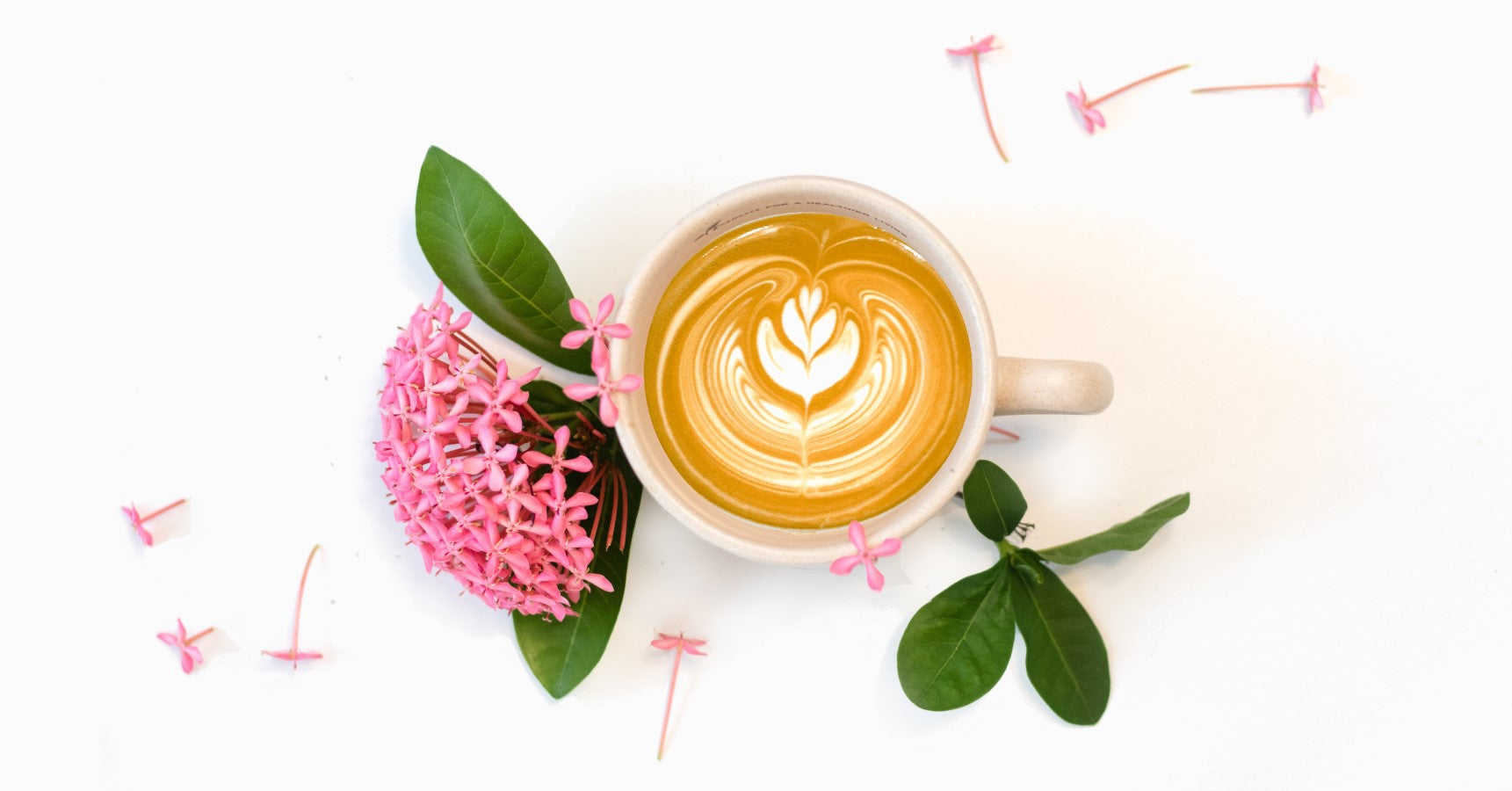 Cappuccino With Dainty Pink Flowers Floral Composition