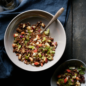 Lentil And Apple Salad With Maple Vinaigrette Made Using Sprouted Lentil Medley From TruRoots