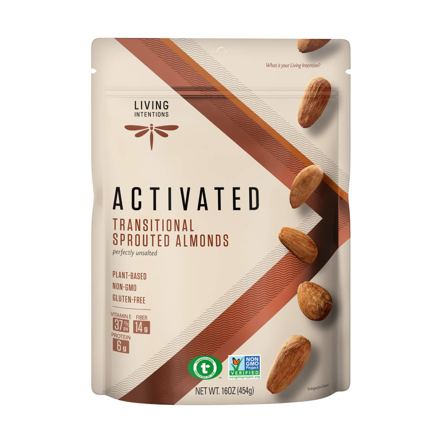 Living Intentions Activated Sprouted Nuts Almonds Unsalted 16oz
