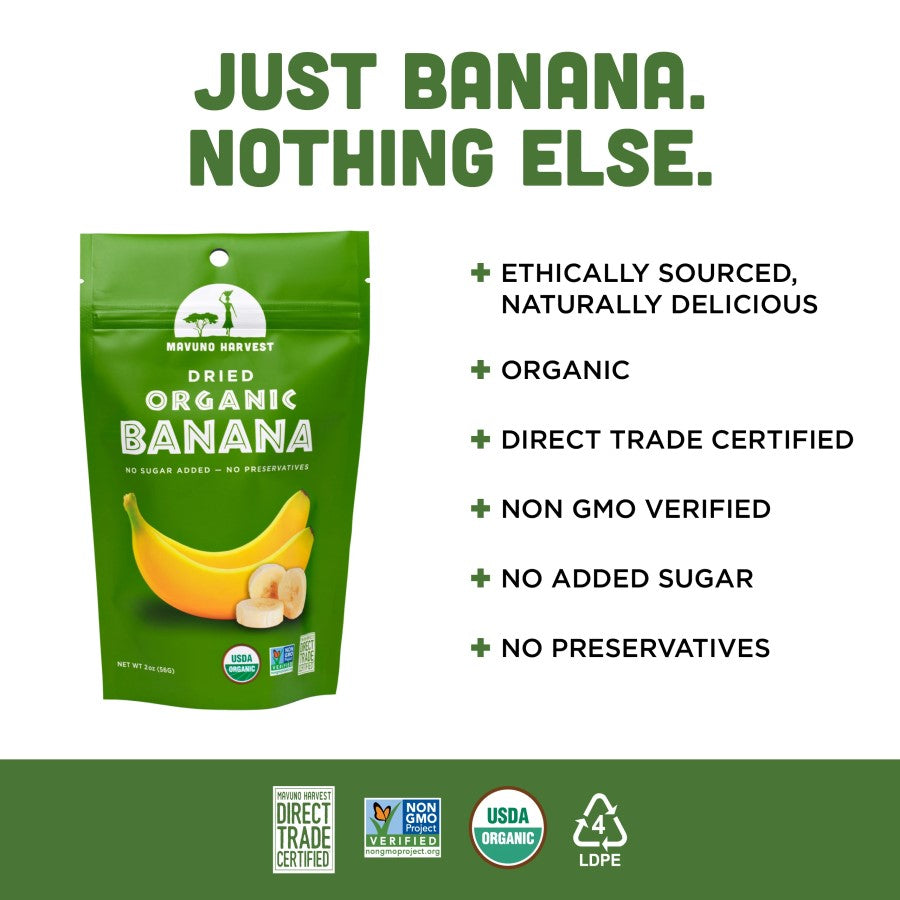 Just Banana Nothing Else Fruit Snack Mavuno Harvest Infographic Organic Non-GMO