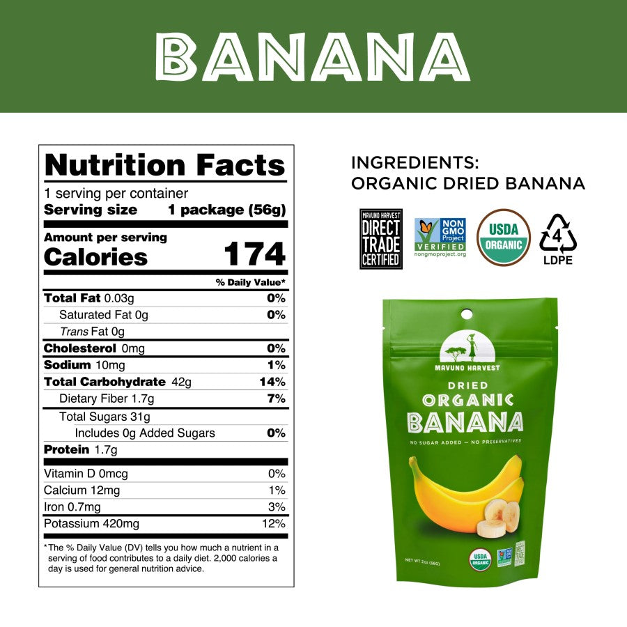 Organic Banana Mavuno Harvest Dried Fruit Nutrition Facts And Ingredients