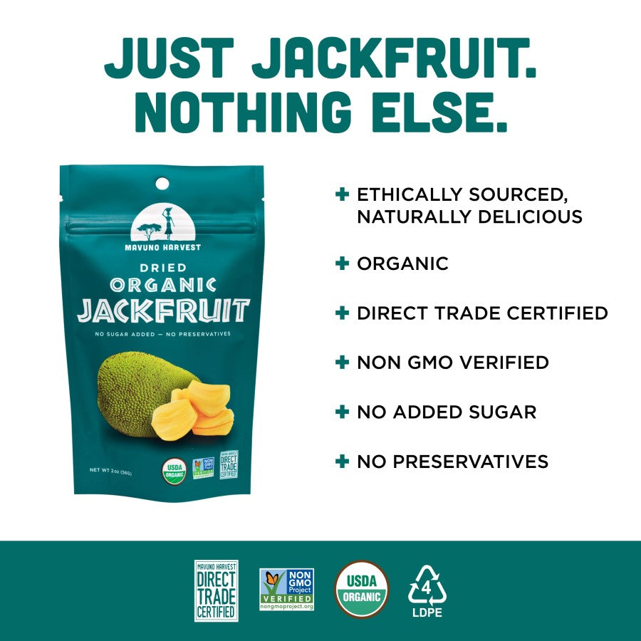 Just Jackfruit Nothing Else No Added Sugar Snack Mavuno Harvest Infographic Organic Non-GMO
