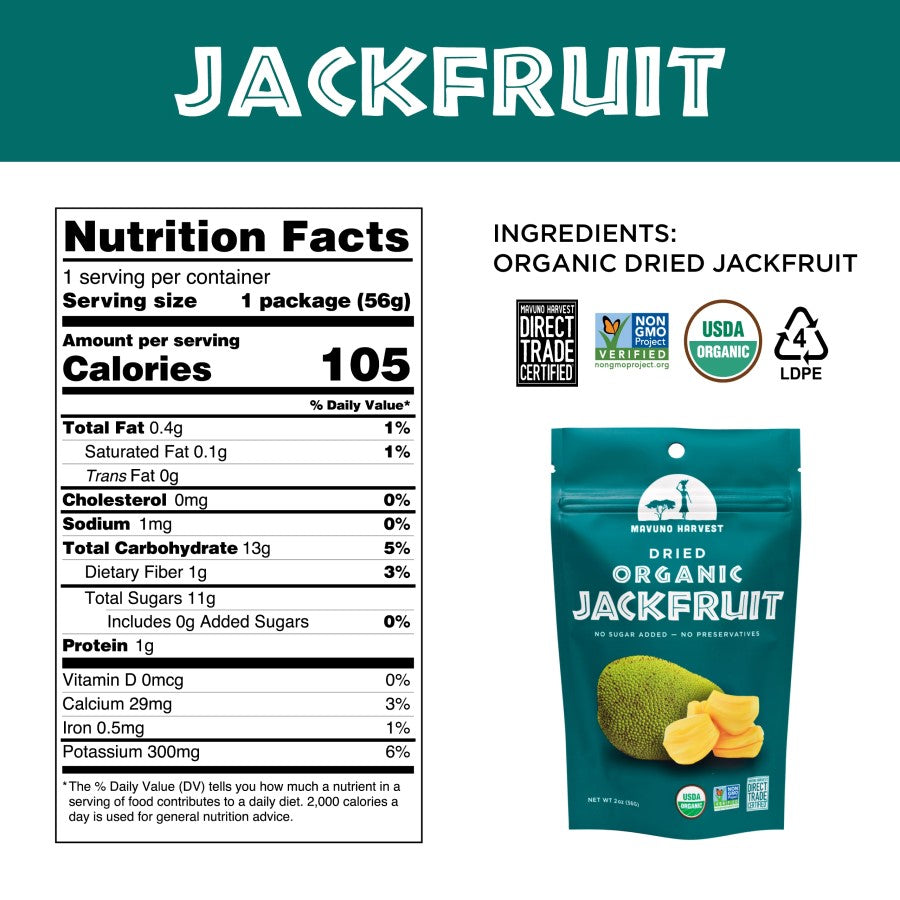 Organic Jackfruit Mavuno Harvest Nutrition Facts And Ingredients