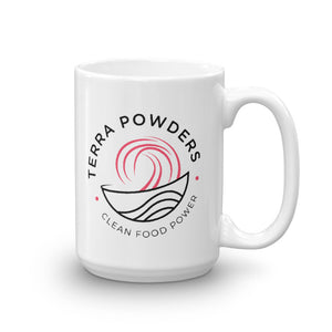 Terra Powders Clean Food Power Ceramic Mug 15oz Dishwasher Safe Pink