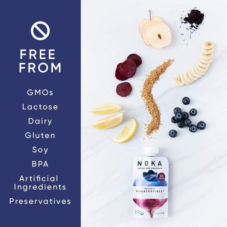 Organic Noka Blueberry Beet Smoothies Are Free From GMOs Lactose Dairy Gluten Soy BPA Artificial Ingredients Preservatives