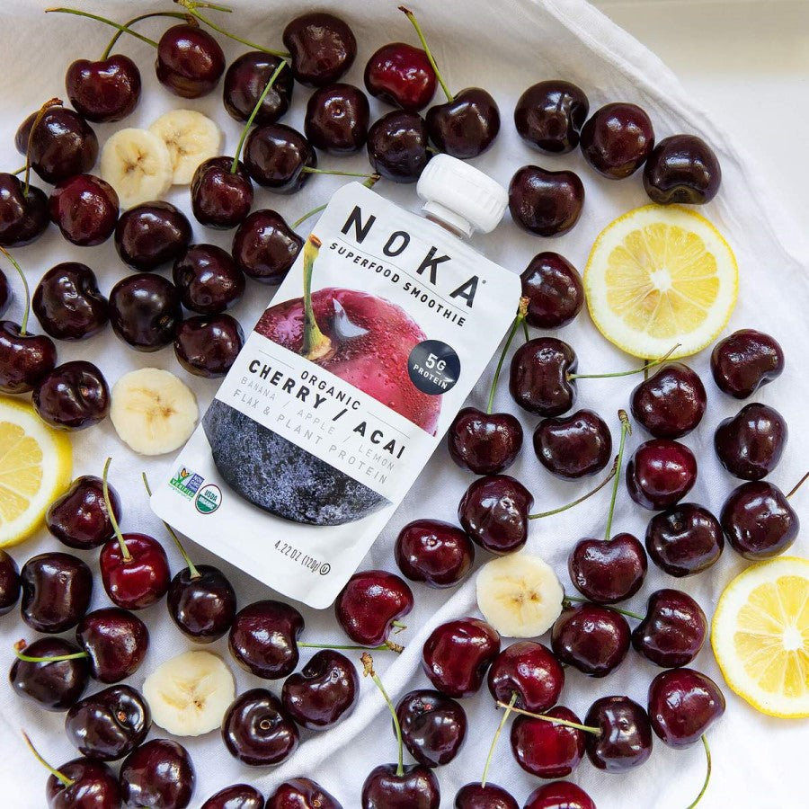 Fresh Organic Cherries Banana Lemon Noka Superfood Blend Smoothie Pouch